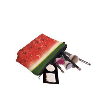 Fruit Print Clutch Makeup Bag -  RED