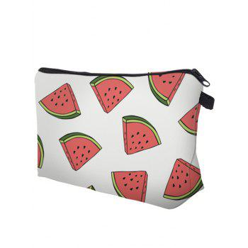 Fruit Print Clutch Makeup Bag - WHITE