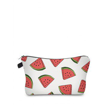 Fruit Print Clutch Makeup Bag - WHITE WHITE