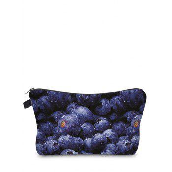 Fruit Print Clutch Makeup Bag - BLUE BLUE