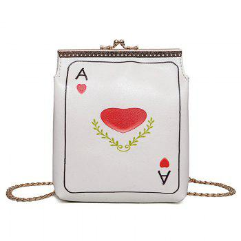 Funny Poker Print Crossbody Bag - RED RED
