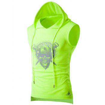 Skull Print Drawstring Hooded Sport Tank Top