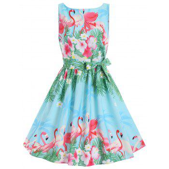 Swan Print Summer A Line Vintage Party Dress