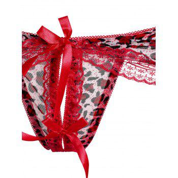 Lace Leopard Lingerie G-String - RED ONE SIZE