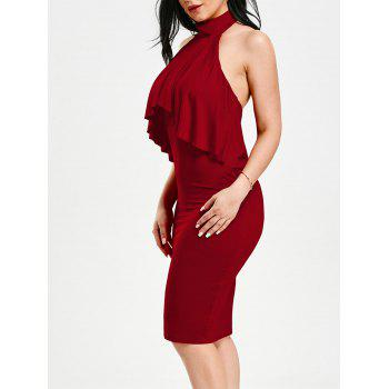 Flounce High Neck Backless Sleeveless Bodycon Dress