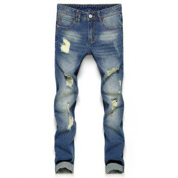 Zipper Fly Slim Fit Ripped Nine Minutes of Jeans