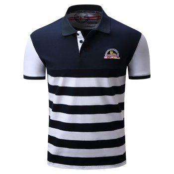 Color Block Panel Badge Embroidered Stripe Polo T-shirt