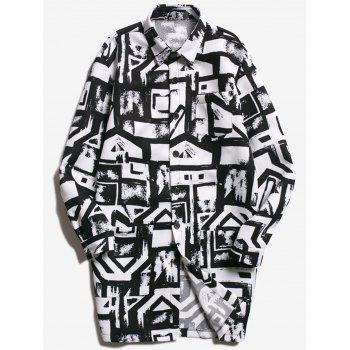 Geometric Print Button Up Coat
