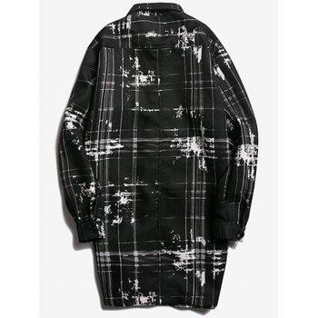 Button Up Tie Dyed Checked Coat - BLACK 2XL