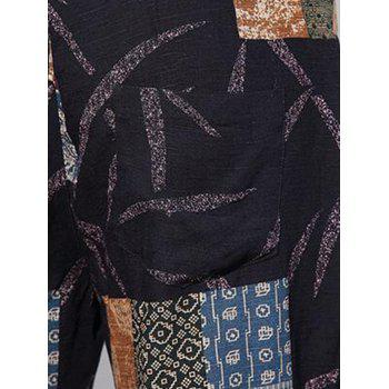 Drawstring Waist Tribal Print Shorts - BLACK 2XL