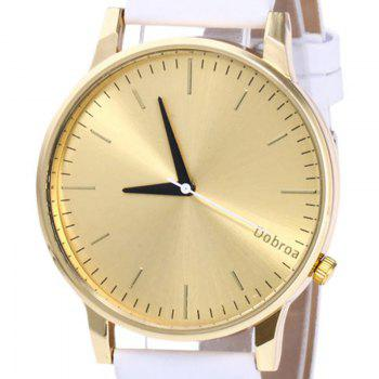 Minimalist Faux Leather Quartz Watch - Blanc