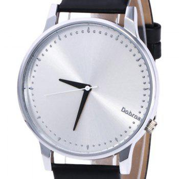Minimalist Faux Leather Quartz Watch - BLACK / SILVER