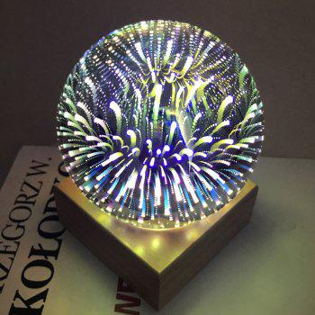 Ball Shape Colorful 3D Fireworks USB Table Lamp - PURPLE