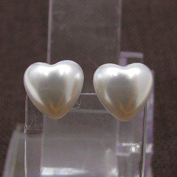 Artificial Pearl Heart Tiny Stud Earrings