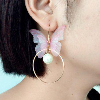 Faux Pearl Yarn Circle Butterfly Earrings