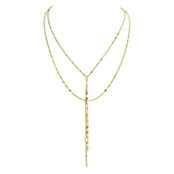 Layered Fringed Chain Pendant Necklace - GOLDEN GOLDEN
