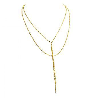 Layered Fringed Chain Pendant Necklace - GOLDEN
