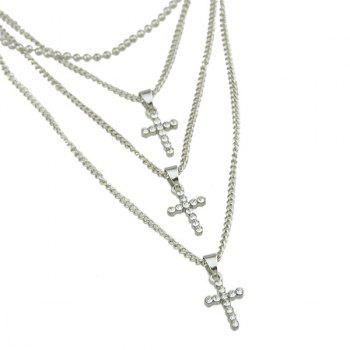 Layered Rhinestone Crucifix Pendant Necklace -  SILVER