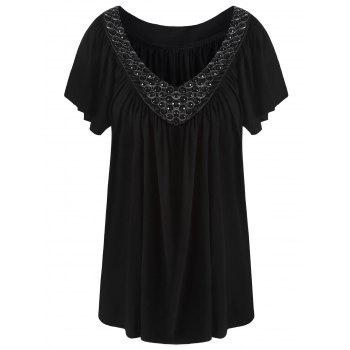 V Neck Beaded Plus Size Top
