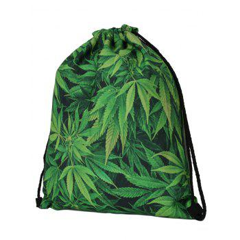 Printed Nylon Drawstring Bag - GREEN