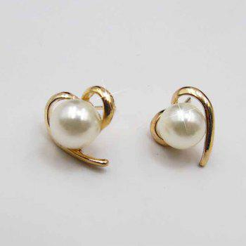 Faux Pearl Heart Shaped Stud Earrings - GOLDEN