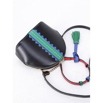Tassel Color Block Mini Crossbody Bag - Noir