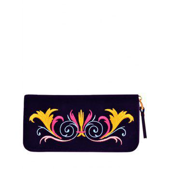 Embroidered Zip Around Velvet Wallet - PURPLE PURPLE