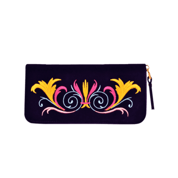 Embroidered Zip Around Velvet Wallet -  PURPLE