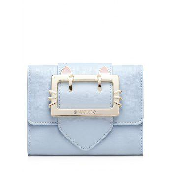 Buckle Strap Tri Fold Small Wallet - LIGHT BLUE LIGHT BLUE