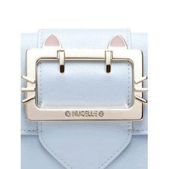 Buckle Strap Tri Fold Small Wallet -  LIGHT BLUE