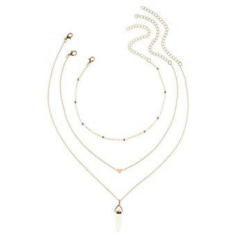 Heart Natural Stone Collarbone Necklace Set -  GOLDEN