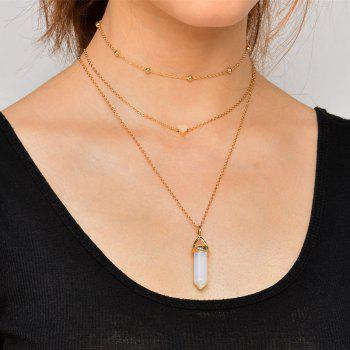 Heart Natural Stone Collarbone Necklace Set - GOLDEN GOLDEN