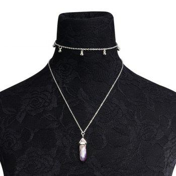 Natural Stone Pendant Collarbone Necklace Set -  SILVER