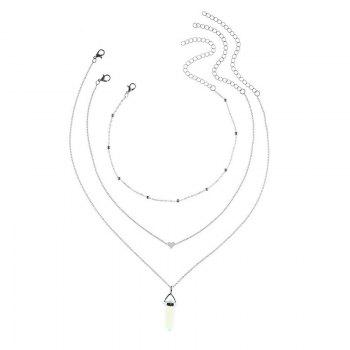 Heart Natural Stone Collarbone Necklace Set -  SILVER
