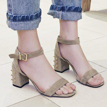 Chunky Heel Suede Sandals with Studs