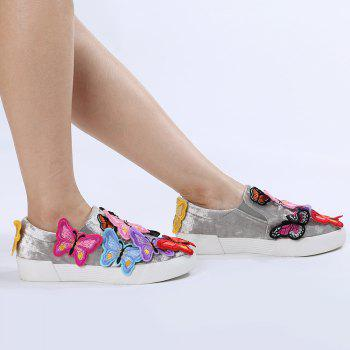 Butterfly Embroidered Slip On Sneakers
