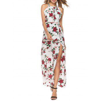 Floral Backless Hollow Out High Split Maxi Dress
