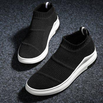 Striped Breathable Slip On Athletic Shoes - BLACK BLACK