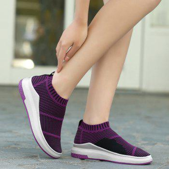 Striped Breathable Slip On Athletic Shoes - PURPLE 39