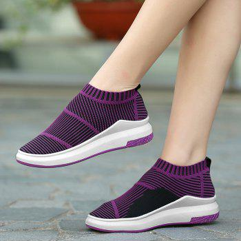 Striped Breathable Slip On Athletic Shoes - PURPLE PURPLE