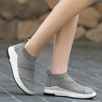 Striped Breathable Slip On Athletic Shoes - GRAY 39