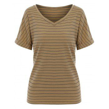 Striped  V Neck Causal T-shirt