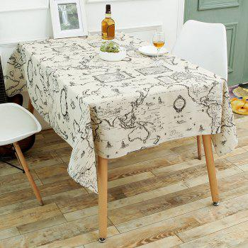World Map Print Linen Table Cloth - GRAY W55 INCH * L78 INCH