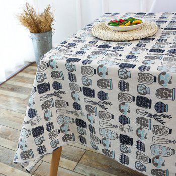 Bottle Print Linen Table Cloth - GRAY GRAY