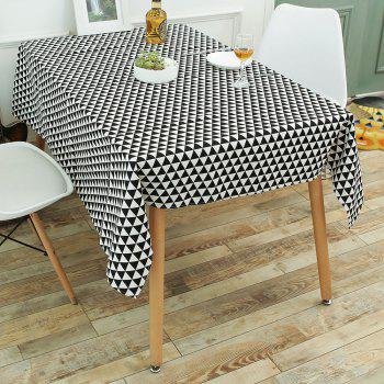 Geometry Print Linen Tablecloth Kitchen Dining Decor - BLACK WHITE W55 INCH * L40 INCH