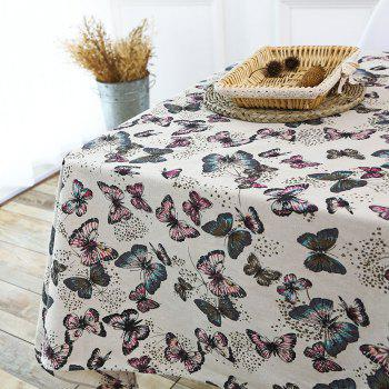 Linen Butterfly Printed Table Cloth For Kitchen - COLORFUL W55 INCH * L78 INCH