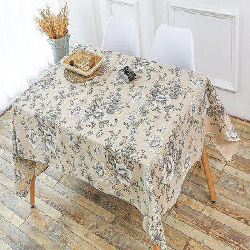 Floral Print Linen Table Cloth - GRAY W55 INCH * L55 INCH