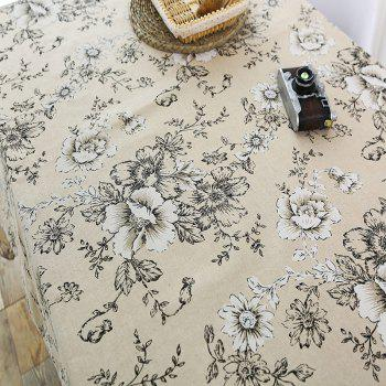 Floral Print Linen Table Cloth - GRAY W55 INCH * L78 INCH