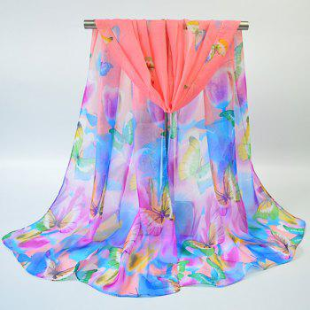 Gossamer Showy Floral Butterfly Printing Scarf