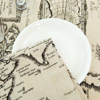 World Map Print Linen Table Cloth - GRAY W55 INCH * L55 INCH